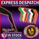 FANCY DRESS ACCESSORIES ~ ADULT 1980's BOLD SOLID COLOUR OPAQUE TIGHTS: Medium - Black
